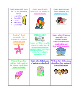 5th Grade Science Review Choice Board