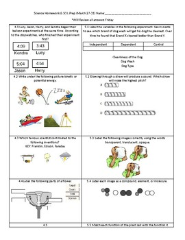 5th Grade Science Review HW Sheet