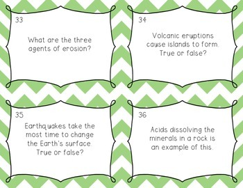 5th Grade Science Review Task Cards