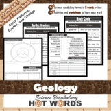 5th Grade Science Hot Words: Rock Cycle + Earth UNIT Vocab