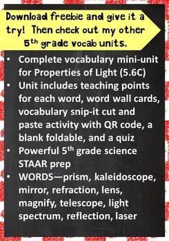 5th Grade Science STAAR-Properties of Light FREEBIE (refraction, reflection)*PDF