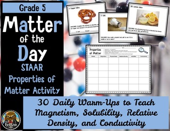 5th Grade Science STAAR--Properties of Matter Activity