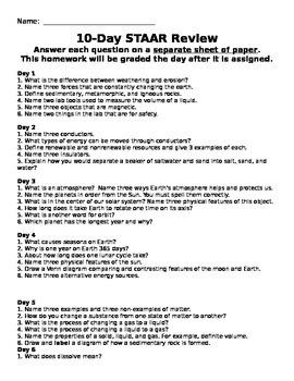 5th Grade Science STAAR Review Homework