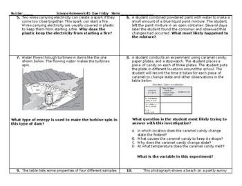 5th Grade Science STAAR packet #1