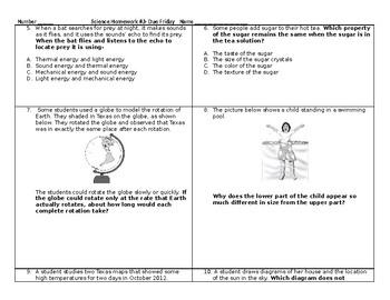5th Grade Science STAAR packet #3