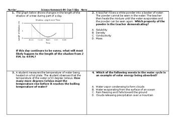 5th Grade Science STAAR packet #4