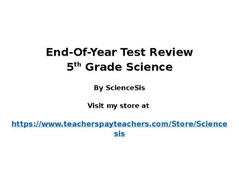 5th Grade Science Standardized Test Review STAAR or Other Tests