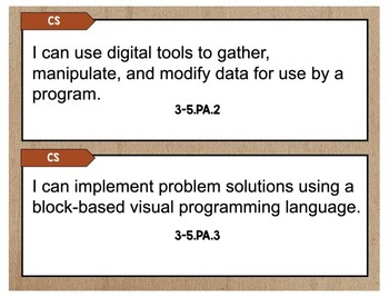 3rd-5th Grade Computer Science Standards Display Cards Burlap (Indiana)