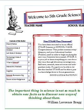 5th Grade Science Syllabus-FUN Aligns with TEKS