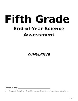 5th Grade Science TEKS End-of-Year Assessment (cumulative)