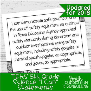 """Fifth Grade Science TEKS """"I Can"""" Statements"""