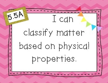 """5th Grade Science TEKS Objectives """"I Can"""" Statements, Pink Chevron"""