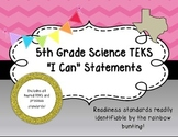 "5th Grade Science TEKS Objectives ""I Can"" Statements, Pink"