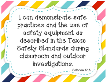 "5th Grade Science TEKS ""I Can"" Statements"