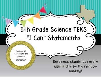 "5th Grade Science TEKS Objectives ""I Can"" Statements, Blue Stripe"