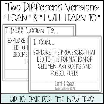 """5th Grade Science TEKS  - """"I Can"""" Statements / """"I Will Learn To"""" Posters"""