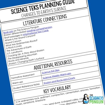5th Grade Science TEKS Planning Guide: Changes to Earth's Surface