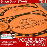 5th Grade Science TEKS STAAR Force, Motion, & Energy Vocabulary Review Game