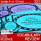 5th Grade Science TEKS STAAR Life Science Vocabulary Review Games