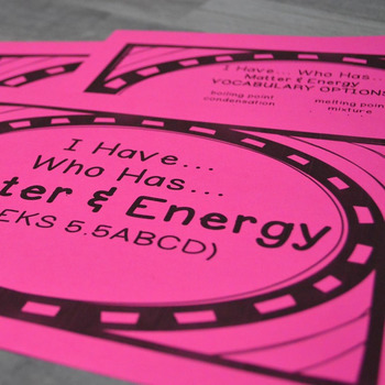 5th Grade Science TEKS STAAR Matter & Energy Vocabulary Review Game