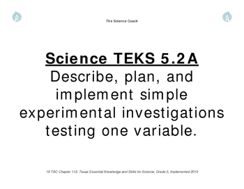 5th Grade Science TEKS Sheets
