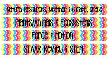 5th Grade Science Unit Binder Labels