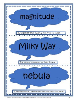 Earth Science: 5th Grade~Universe~Vocabulary Flash Cards~Studies Weekly