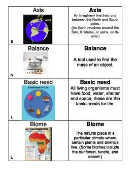 5th Grade Science Vocabulary Flash Cards