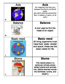 5th Grade Science Vocabulary Flash Cards