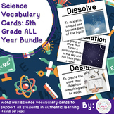 5th Grade Science Vocabulary Cards: All Year Bundle