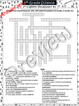 5th Grade Science Vocabulary Puzzle~1st 6 Weeks #1 & 2~NO PREP