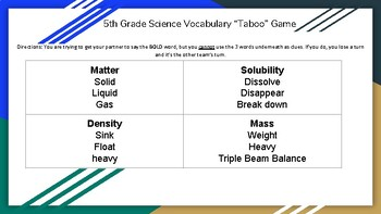 "5th Grade Science Vocabulary Review ""Taboo"" Game"