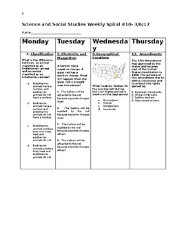 5th Grade Science and Social Studies Spiral Weekly Review