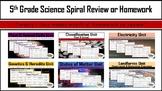 5th Grade Science Unit BUNDLES Spiral Review or Homework