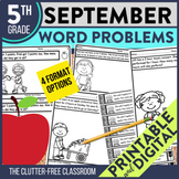 5th Grade September Word Problems printable and digital ma