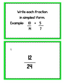 5th Grade Simplest Form Task Cards  Common Core