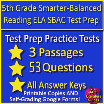 5th Grade Smarter Balanced Test Prep ELA - SBAC - Printable AND Paperless