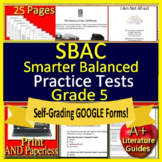 5th Grade Smarter Balanced Test Prep ELA - SBAC - Printable AND Paperless