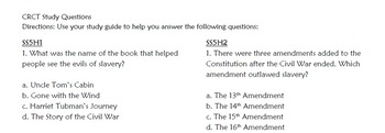 5th Grade Social Studies CRCT Study Guide (Historical Understandings ONLY)