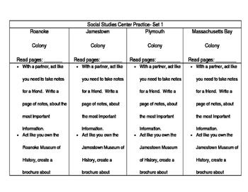5th Grade Social Studies Center Activities