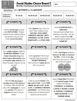 **EDITABLE** 5th Grade Social Studies Choice Boards