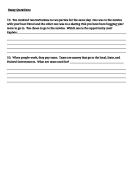 5th Grade Social Studies Economics Test