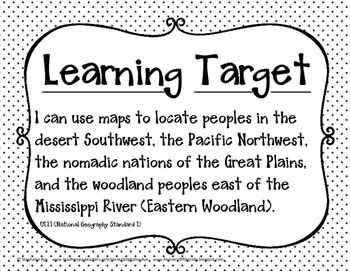 5th Grade Social Studies Learning Target Posters