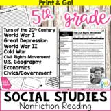 5th Grade Social Studies Reading Activities BUNDLE