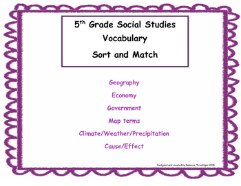 5th Grade Social Studies Sort and Match