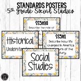5th Grade Social Studies Standards Posters | Blue Flowers Theme