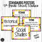 5th Grade Social Studies Standards Posters | PREPPY Theme