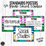 5th Grade Social Studies Standards Posters | Tropical Theme