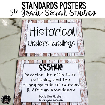 5th Grade Social Studies Standards Posters for Georgia