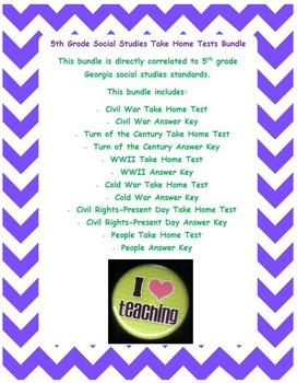 5th Grade Social Studies Take Home Tests Bundle  **EDITABLE**